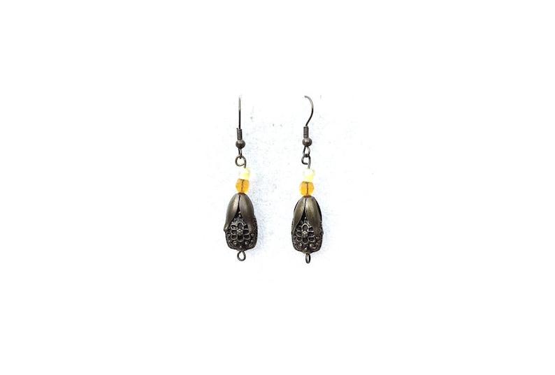 mid-length earrings chic tribal earrings Yellow bronze earring original earring antique earrings
