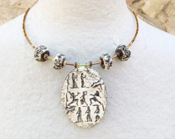 Ceramic necklace, mother's day, crew neck, bohemian necklace, tribal necklace, ethnic necklace, ceramic jewelry, necklace coconut