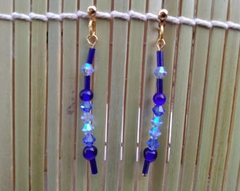 Earrings, mothers day, dangle glass seed bead earrings, Swarovski Crystal, blue earrings, lightweight, fashionable earrings