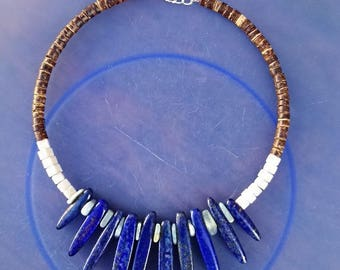 Choker necklace, mothers day, precious necklace, lapis lazuli, aquamarine necklace, Pearl necklace, necklace wood coconut