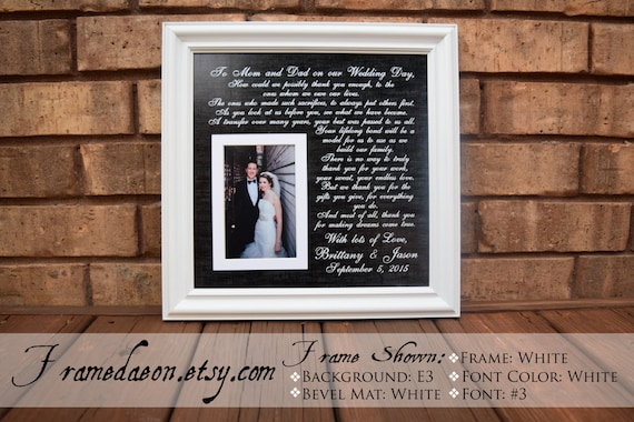 To Mom And Dad On Our Wedding Day Frame Custom Picture Frame Etsy