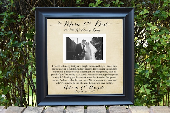 Thank you parent gift Parents Wedding frame Custom Picture