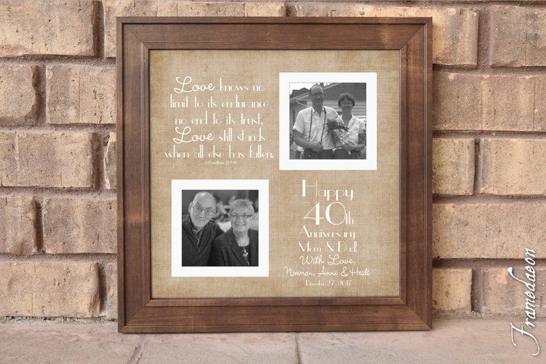 40th Wedding Anniversary Gift Anniversary Gift For Mom Dad Etsy