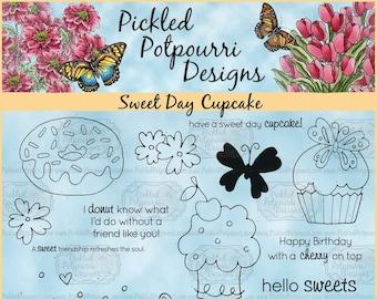 Sweet Day Cupcake Digital Stamp Download