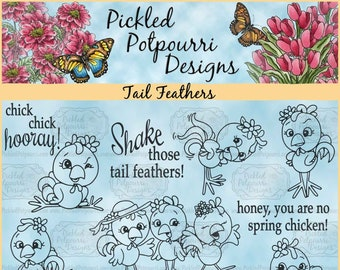 Tail Feathers Digital Stamp Download