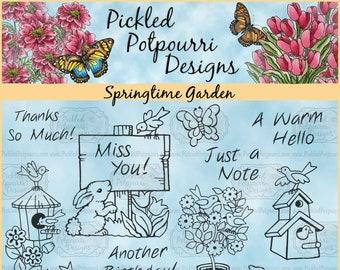 Springtime Garden Digital Stamp Download
