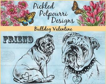 Bulldog Valentine Digital Stamp Download