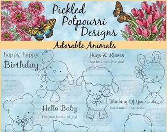 Adorable Animals Digital Stamp Download