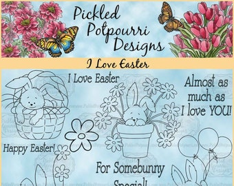 I Love Easter Digital Stamp Download