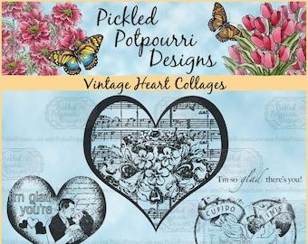 Vintage Heart Collages Digital Stamp Download