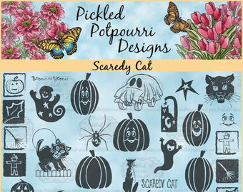 Scaredy Cat JUMBO Digital Stamp Download