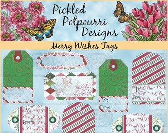 Merry Wishes Tags Digital Printables Download