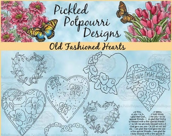 Old Fashioned Hearts Digital Stamp Download