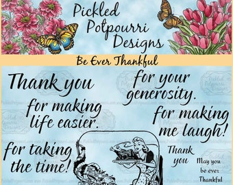 Be Ever Thankful Digital Stamp Download