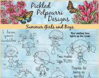 Summer Girls and Boys Digital Stamp Download