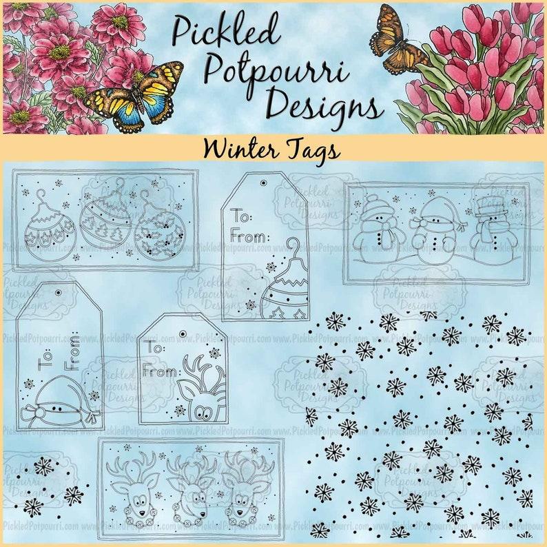 Winter Tags Digital Stamp Download image 0