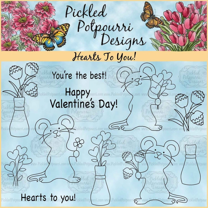 Hearts To You Digital Stamp Download image 0