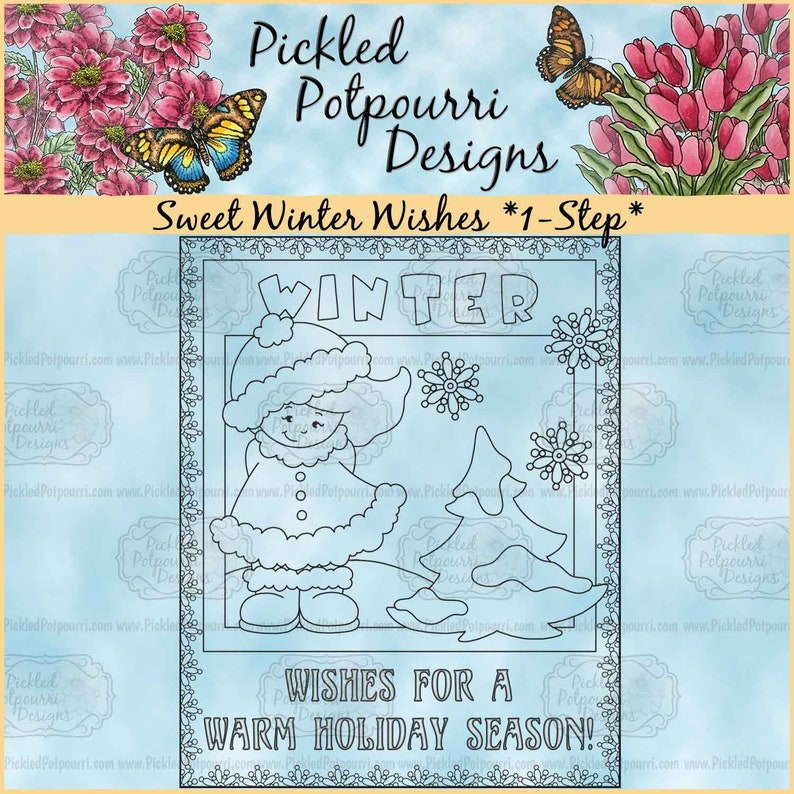 Sweet Winter Wishes 1-Step Digital Stamp Download image 0