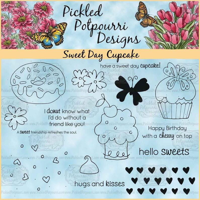 Sweet Day Cupcake Digital Stamp Download image 0