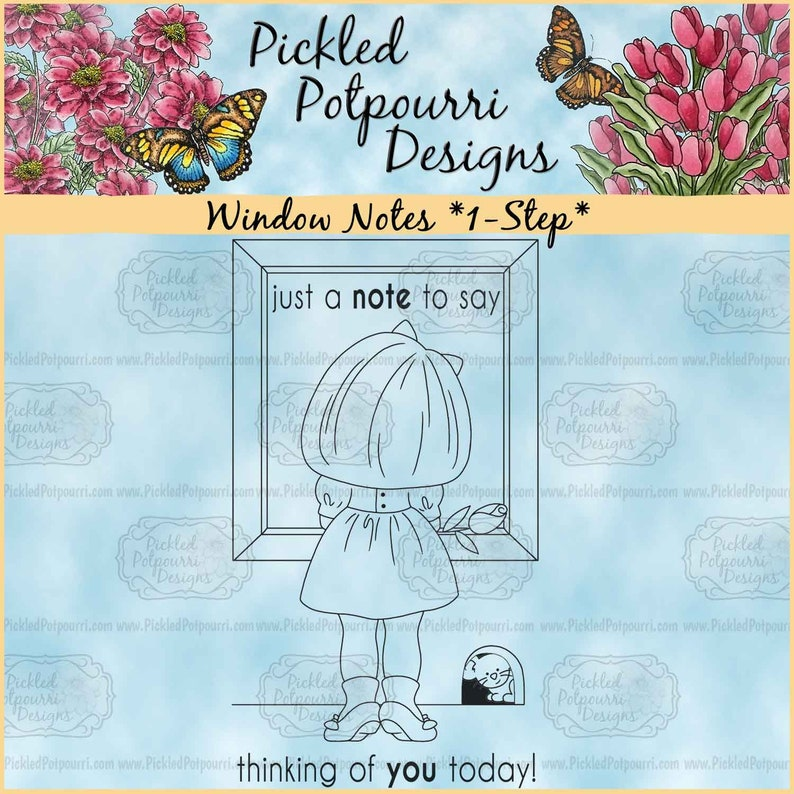 Window Notes 1-Step Digital Stamp Download image 0