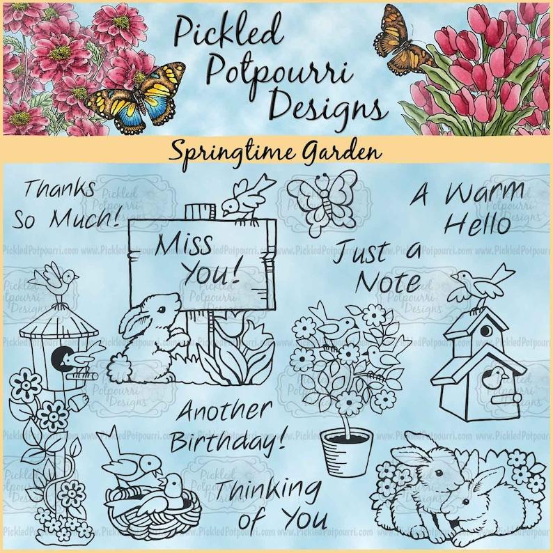 Springtime Garden Digital Stamp Download image 0