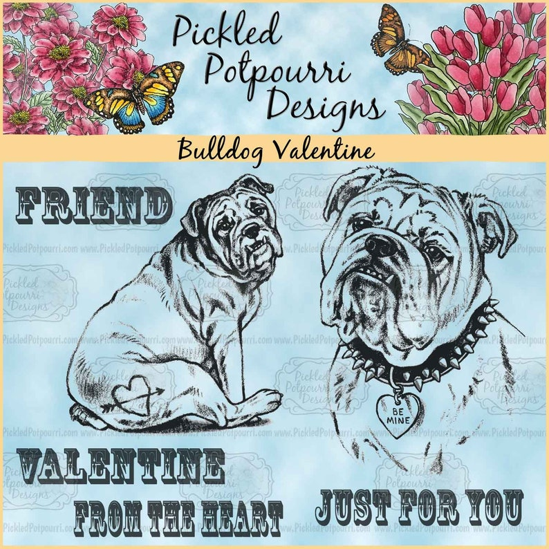 Bulldog Valentine Digital Stamp Download image 0