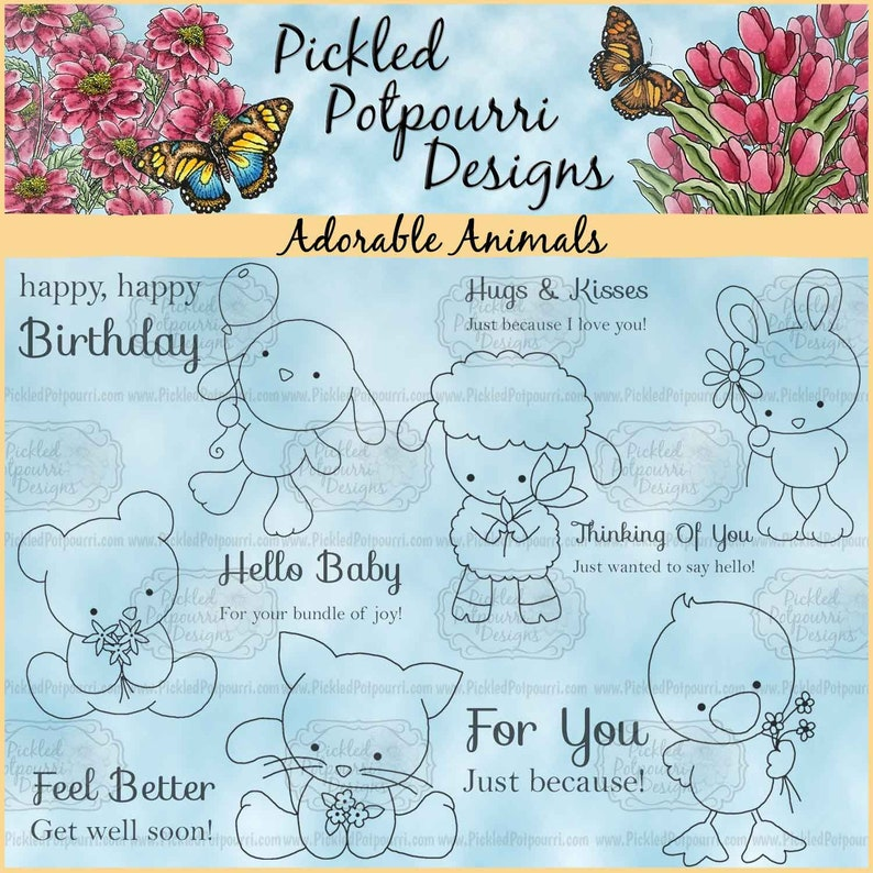 Adorable Animals Digital Stamp Download image 0