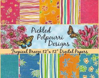 Tropical Breeze Digital Papers Download