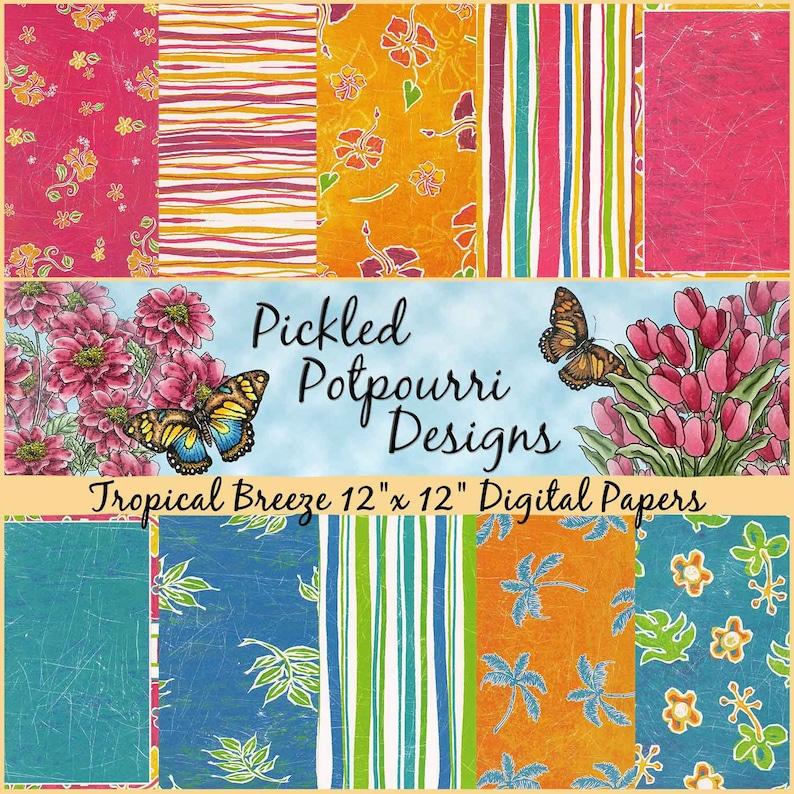 Tropical Breeze Digital Papers Download image 0