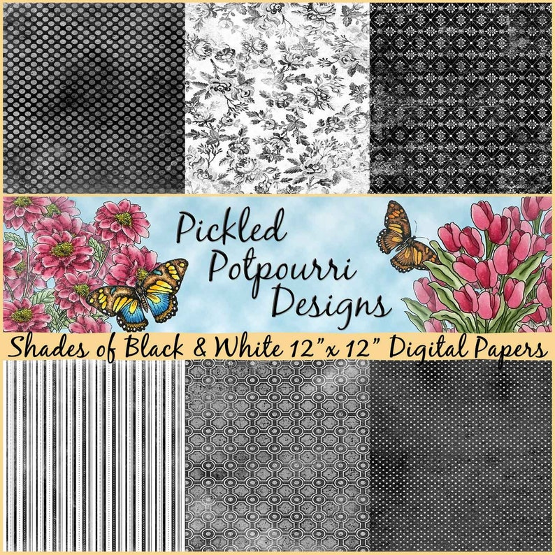 Shades of Black & White Digital Papers Download image 0