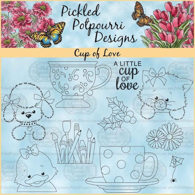 Cup of Love Digital Stamp Download image 0