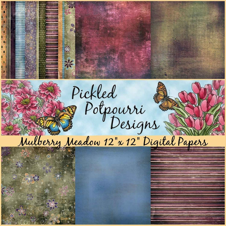 Mulberry Meadow Digital Papers Download image 0