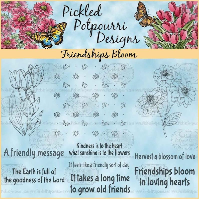 Friendships Bloom Digital Stamp Download image 1