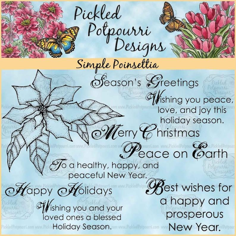 Simple Poinsettia Digital Stamp Download image 0