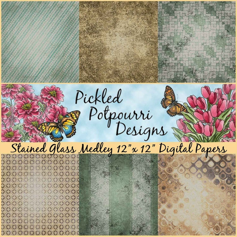 Stained Glass Medley Digital Papers Download image 0