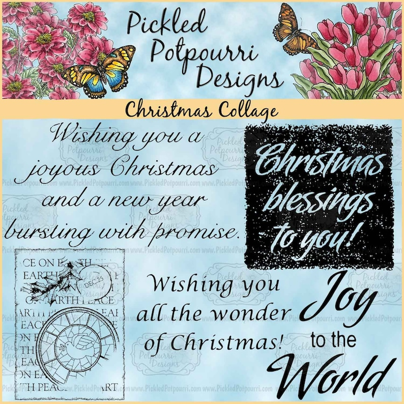 Christmas Collage Digital Stamp Download image 0