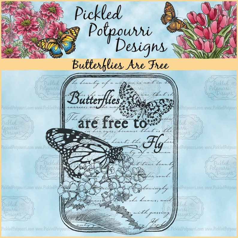Butterflies Are Free 1-Step Digital Stamp Download image 0