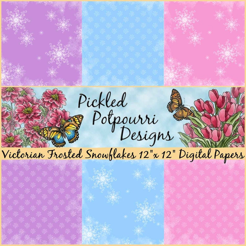 Victorian Frosted Snowflakes Digital Papers Download image 0