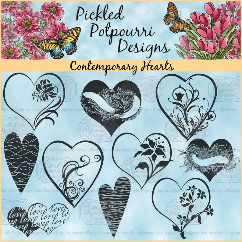 Contemporary Hearts Digital Stamp Download image 0