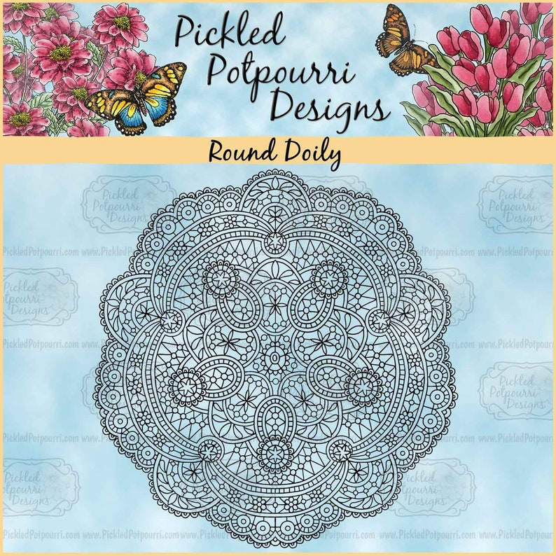 Round Doily Digital Stamp Download image 0