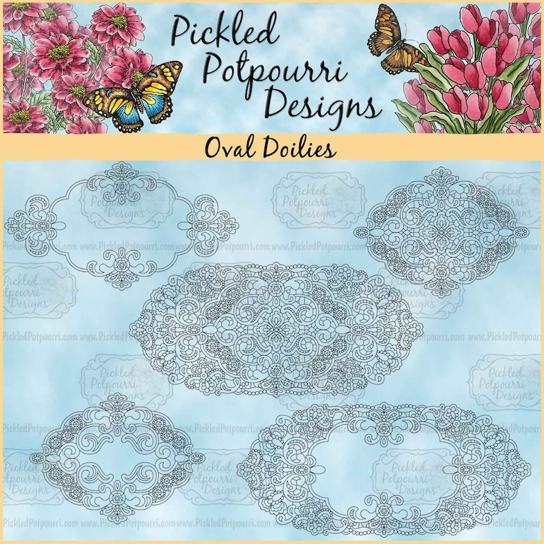 Oval Doilies Digital Stamp Download image 0