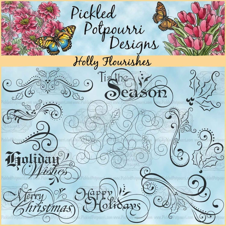 Holly Flourishes Digital Stamp Download image 0