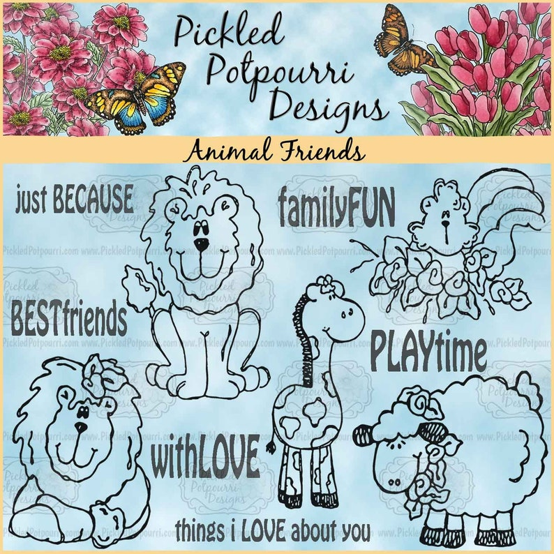 Animal Friends Digital Stamp Download image 0
