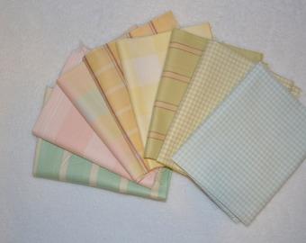 Moda Seaside Rose Shirting Fat Quarters, 8 Different Plaids, Checks, Stripes