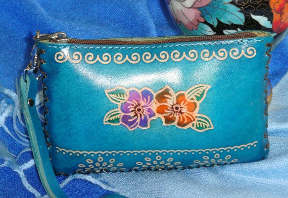 Genuine Leather Change Purse with Floral Design