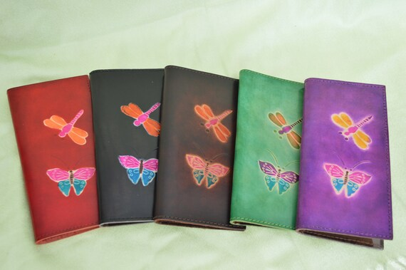 Green Real Leather Check Book Cover,Butterfly//Dragonfly Embossed on Both Side