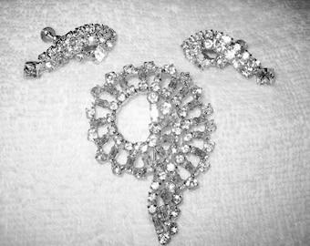Vintage Baguette Spirell Rhinestone Brooch /& Earrings