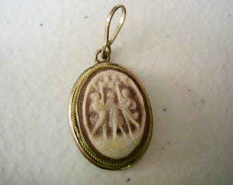 Antique Dancing Ladies Carved Cameo Pendant 800 Silver
