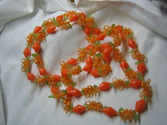 Vintage 40s Celluloid Necklace Bright Orange