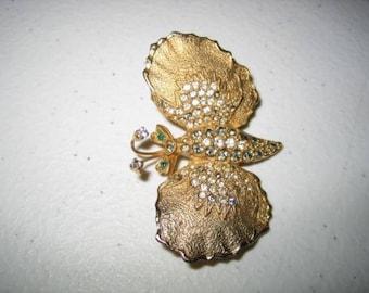 Vintage De Nicola Rhinestone Butterfly Brooch